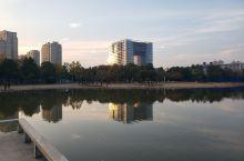 周末逛公园,拍下夕阳风景