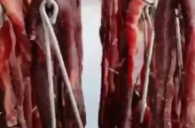 内蒙古风干牛肉干晾晒中