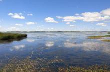 蓝天白云,花湖绿草