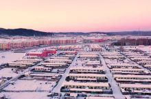 中国最北的县城,夕阳余晖,雪后,塔河