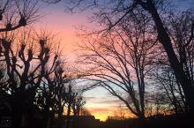 北欧小城的冬日黄昏——粉色天空