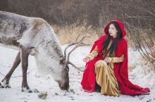 冰天雪地里的驯鹿和小红帽