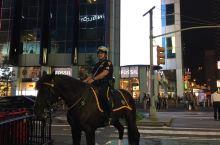 曼哈顿的不夜天,帅哥巡逻是骑马的