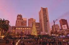 圣诞光环下的旧金山联合广场