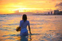 夏威夷欧胡岛威基基的日落时分