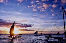 菲律宾长滩岛白沙滩风帆日落