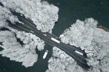 江南雪雪中湖湖中舟航拍的西湖