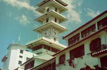阜宁外滩。步行街的钟楼。兴国寺。