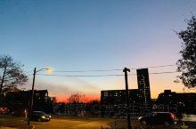 波士顿黄昏时的晚霞