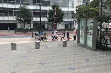 日本的幼稚园小朋友出来玩,五个小朋友,三个老师带着,比较奇葩的是小朋友门戴着的帽子是绿色的,不同文化