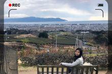 离开东京去名古屋的路上,我经过了静冈县的沼津市。大巴车停在这里休息的时候,眼前出现了这个远眺出去景色