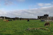 图1-2:从东部都柏林到西部莫赫悬崖中经过的一座中世纪的修道院,修道院的照片没有拍,不过周边的风光很