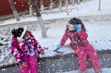 请谅解南方的孩子第一次看见雪 俩小朋友简直玩疯了,冷也不怕啦 好怕她们会感冒啊