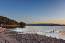 北欧旅游经过瑞典赫尔辛堡时到海边拍日落