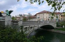 卢布尔雅那美景。三桥、龙桥、教堂等。