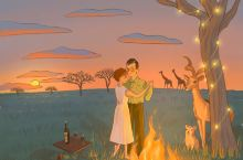 【旅行手绘】坦桑尼亚记忆  图一:在大草原的每晚我们都会在帐篷前的篝火旁一边喝酒聊天,一边看着天边的