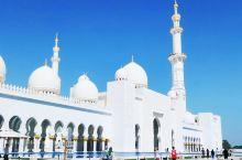 迪拜之行必到之处  谢赫扎耶德清真寺位于阿布扎比,全白色的建筑非常让人震撼,在蓝天的映衬下美伦美幻,