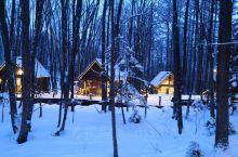 森林精灵露台,适合晚上去的一个景点,在雪中的风景挺漂亮的,由好多个透明的玻璃房的小木屋连接成的露台,