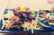 玻璃房餐厅里的牛排大餐:)