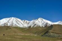 """清晨从阿克塞出发,驱车一个半小时,远远望见了当金山。在炎炎夏日,身着夏衣,踏着雪地上留有的""""岩壁精灵"""