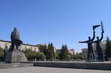 俄罗斯新西伯利亚市中心广场,列宁铜像,歌剧院,亚历山大.涅夫斯基大教堂等