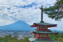 富士山标准照 忠灵塔与富士山完美组合 爬到上面有三百多级台阶