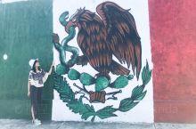 【拉美向导带您墨西哥旅行 感受七彩涂鸦艺术】喜欢墨西哥街头巷尾的涂鸦艺术,发现一面国旗涂鸦,站在涂鸦