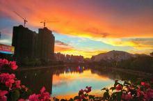 义昌江边的晚霞和彩虹