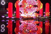 陕州地坑院甘棠公园分会场 第一次看到这么漂亮的灯会!天空中花灯烂漫,山坡上丹凤回眸、蝶舞牡丹,水湾里