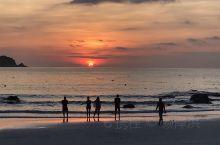 热浪岛日落,海滩航拍