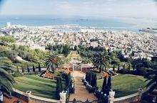 """巴哈伊空中花园。位于以色列第三大城市海法的世界文化遗产巴哈伊空中花园。巴哈伊花园位于有着""""上帝之山"""""""