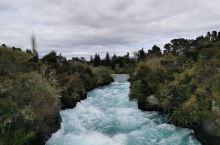 新西兰的Taupo, Huka 瀑布, 远眺雪山,河边餐厅享受美食