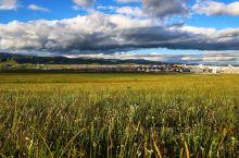 晚餐后,开车到玛曲县城西面的小山坡,看草原光影、云彩。