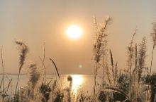 太湖边看日落很美