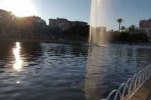 地中海公园马拉加。2020年元旦温柔的午后微风,略带金黄的偏西斜阳,辉映在喷泉水柱上,幻影几道约丽的