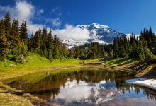 美国西雅图雷尼尔山+高山湖水+原始森林+活火山一日游