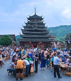 [三江游记图片] 广西柳州·侗族大寨内壮观的百家宴